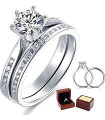 1 ct round diamond sterling 925 silver 2-pc bridal wedding engagement ring set