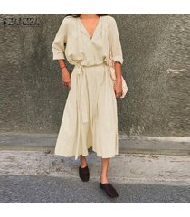zanzea mujeres casual llanura suelta flare kaftan cinturón tie v cuello vestido largo largo -beige