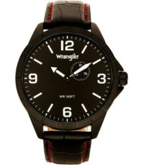 wrangler men's watch, 48mm ip titanium case with titanium dial, second hand subdual, black strap with red stitching