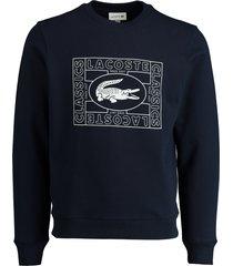 lacoste sweater donkerblauw met logo sh8807/166