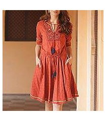 cotton a-line dress, 'delhi spring in russet' (india)