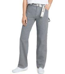 dickies juniors' railroad stripe carpenter pants
