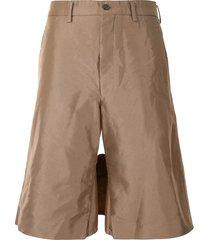 comme des garçons homme plus thigh-panel bermuda shorts - brown