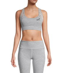 roberto cavalli sport women's crochet-panel sports bra - heather grey - size l