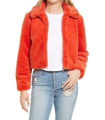 women's blanknyc faux fur crop jacket, size x-large - red