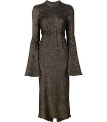 ellery bell sleeve metallic dress - black