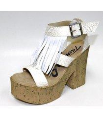 sandalia blanca tamara shoes flecos