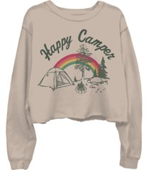 junk food happy camper cotton cropped sweatshirt