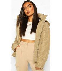 double pocket puffer jacket, olive