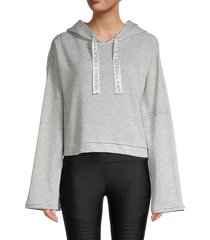 kendall + kylie women's cropped hoodie - heather grey - size xl
