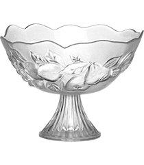 fruteira de mesa com pé, carisma centro de mesa vidro 23x32cm - tricae