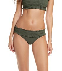 women's tory burch costa smocked hipster bikini bottoms, size x-small - green