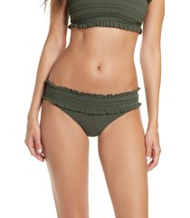 women's tory burch costa smocked hipster bikini bottoms, size large - green