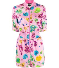 versace jeans couture graphic print playsuit - pink