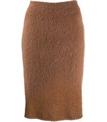 versace fluffy pencil skirt - brown