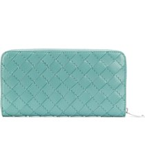 bottega veneta continental leather zip wallet - blue