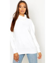 roll neck knitted oversized sweater, ivory
