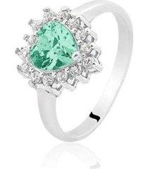 anel de prata coração zircônia verde - feminino