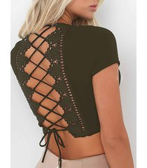 v-neck criss-cross back crop top in army green