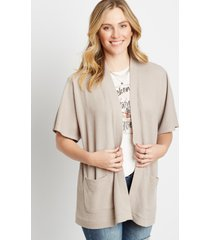 maurices womens solid waffle knit smocked back cardigan gray