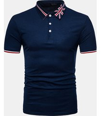 camicia da golf da uomo casual stile casual da colletto stampato stile occidentale