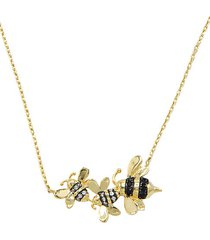 animal 14k goldplated & crystal honey bee pendant necklace