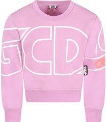 gcds mini lilac sweatshirt for girl with logo