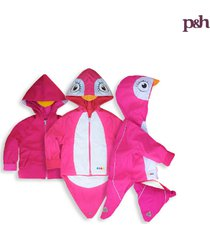 chaqueta impermeable pingüina fucsia