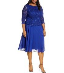 plus size women's alex evenings mock two-piece midi dress, size 18w - blue