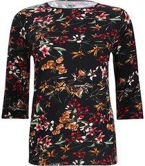 camiseta  manga 3/4 flor color negro, talla 1xl