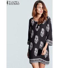 zanzea mujeres bohe 3/4 manga sueltos en la vendimia de impresión camisa de vestir fiesta en la playa larga (negro) -negro