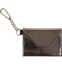 woman silver card holder with black logo and internal mirror