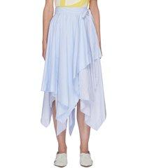 tiered asymmetric draped hem midi skirt