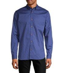 ben sherman men's flower-print shirt - blue depth - size l
