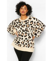 plus balloon sleeve leopard print sweater, stone
