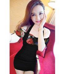 pf261 sexy sweet off-shoulder 2 in 1 dress, size s-xl, flower/black