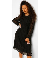 dobby midi jurk met stippen, black