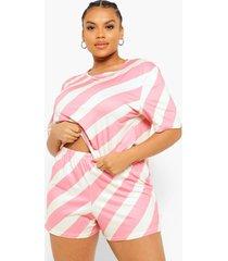 plus gestreept pyjama t-shirt en shorts set, pink