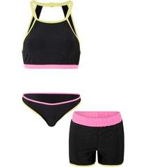 bikini (set 3 pezzi) (nero) - rainbow