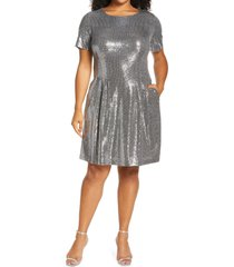 caxlz by connected apparel kym sequin fit & flare cocktail dress, size 24w in silver at nordstrom