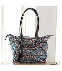 leather accented cotton tote, 'royal garden' (india)