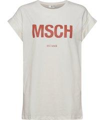 alva msch est tee t-shirts & tops short-sleeved creme moss copenhagen