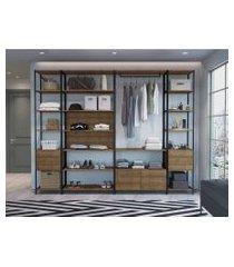 conjunto de 4 estantes guarda roupa p/ closet  c/ 8 gavetas - vermont /preto-  industrial - artesano