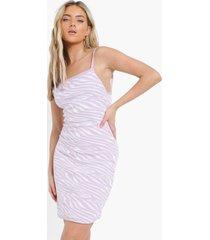 gebreide zebraprint jurk, lilac