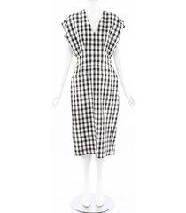 derek lam gingham cotton dress black/white sz: s