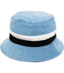 marni corduroy panelled bucket hat - blue