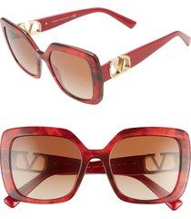 valentino vlogo 53mm gradient square sunglasses in red havana/gradient brown at nordstrom