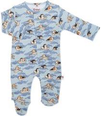 baby boy row-ver magnetic footie one piece