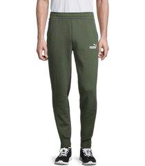 puma men's logo jogging pants - green - size m