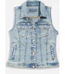 maurices womens light wash blue denim vest